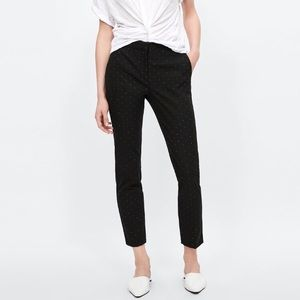 Zara Black Polka Dot Tapered Twill Ankle Pants